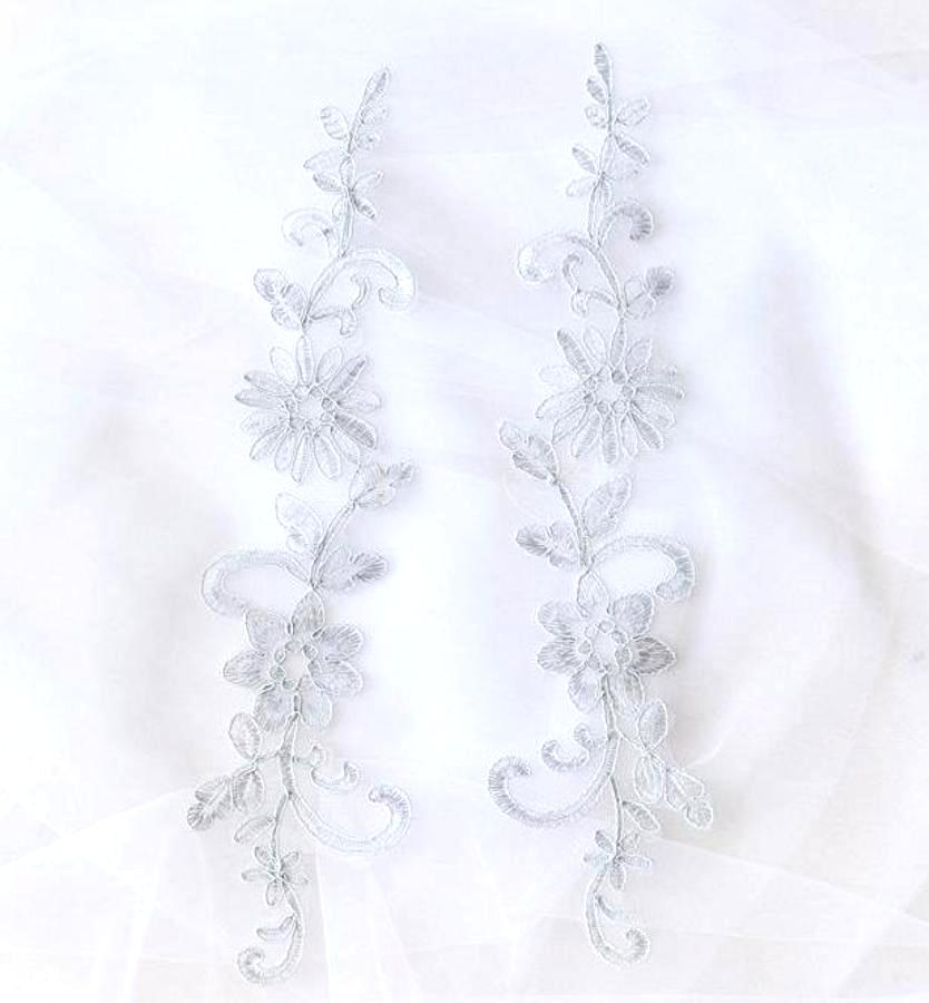 Designer Appliques Lace Embroidered Mirror Pair Light Silver Costume Patch DH134X