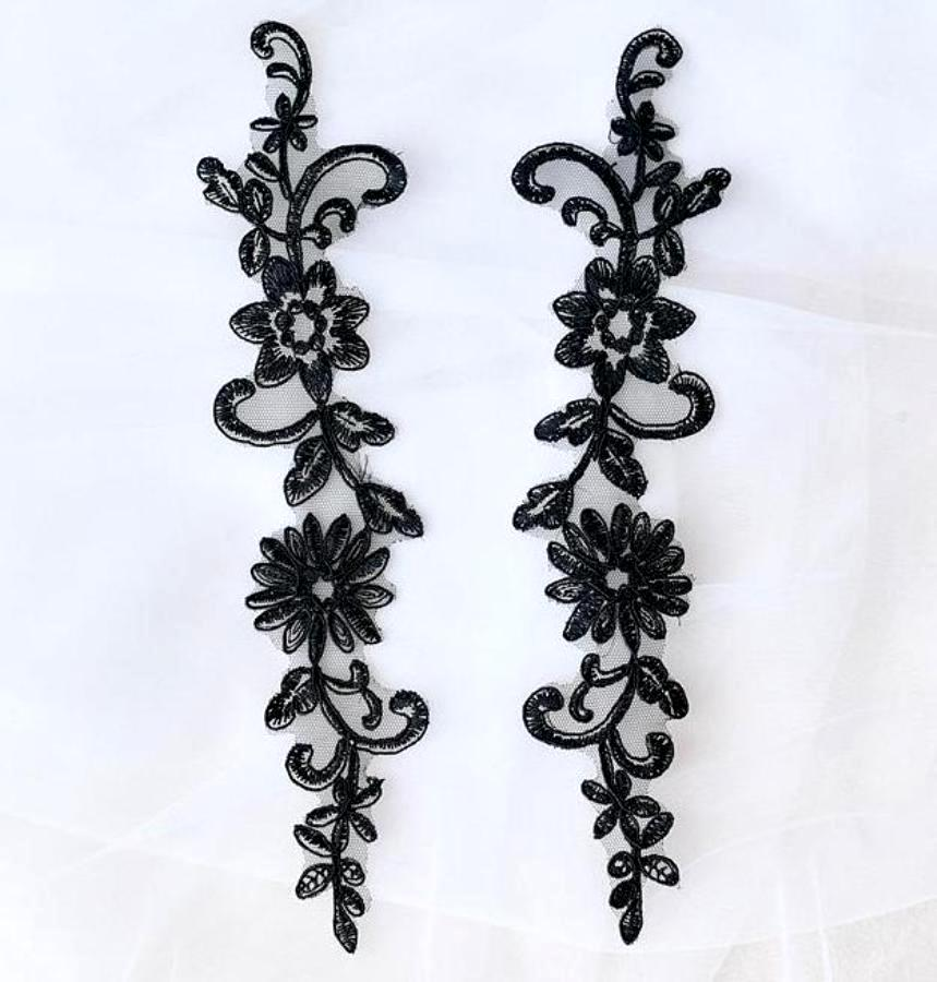 Designer Appliques Lace Embroidered Mirror Pair Black Costume Patch DH134X