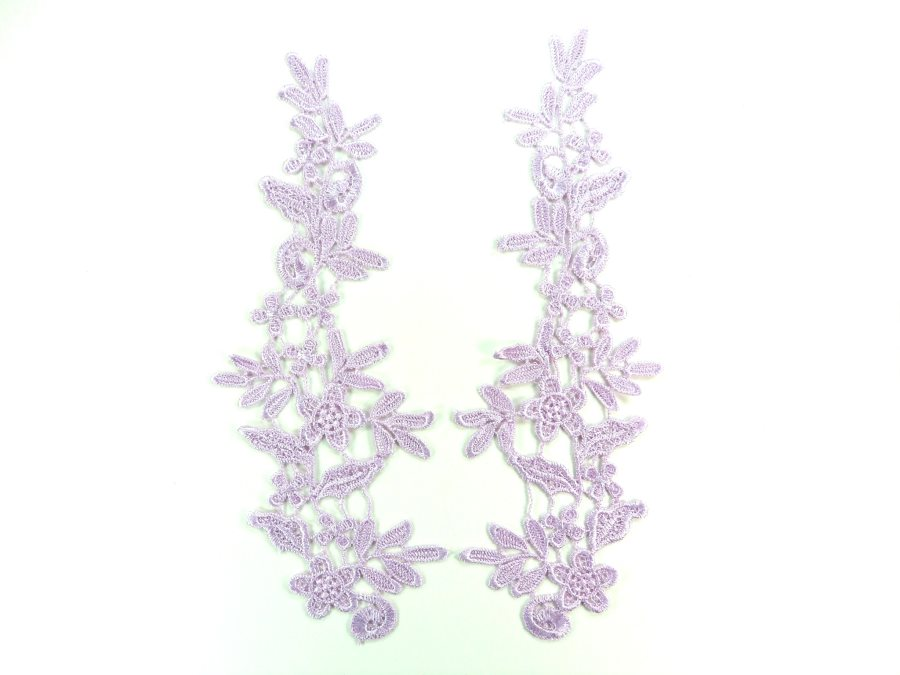 Embroidered Appliques Lace Lavender Mirror Pair Sewing Clothing Patch DH138X