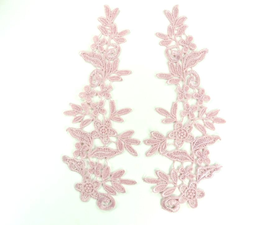 Embroidered Appliques Lace Mauve Mirror Pair Sewing Clothing Patch DH138X