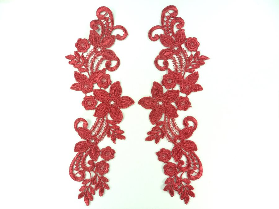 Embroidered Lace Appliques Wine Floral Venice Lace Mirror Pair 9.5 (DH86X)