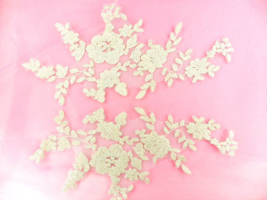 Appliques Embroidered Lace Mirror Pair Metallic Gold Dance Costume Patch DH163X
