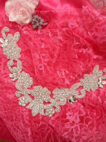 DH25 Crystal Rhinestone Neckline Collar Applique Silver Beaded Bridal Sash Patch Motif 10