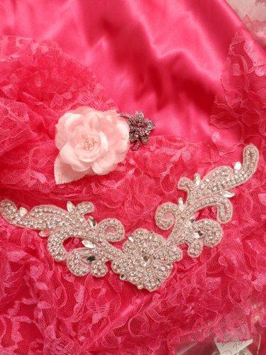 DH27 Crystal Rhinestone Neckline Collar Applique Silver Beaded Bridal Sash Patch Motif 10.5\