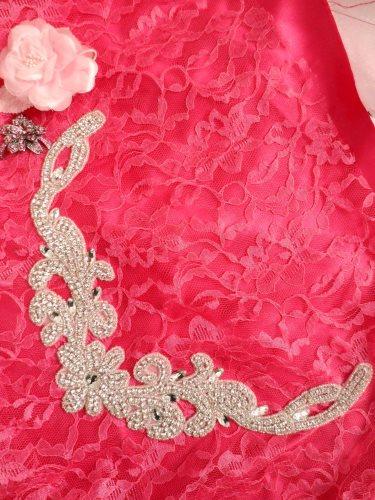 DH28 Crystal Rhinestone Neckline Collar Applique Silver Beaded Bridal Sash Patch Motif 10