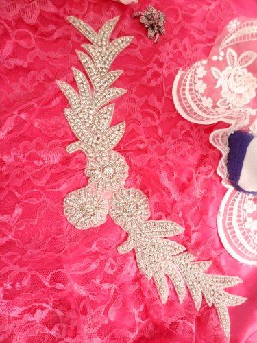 DH31 Crystal Rhinestone Neckline Collar Applique Silver Beaded Bridal Sash Patch Motif 10\