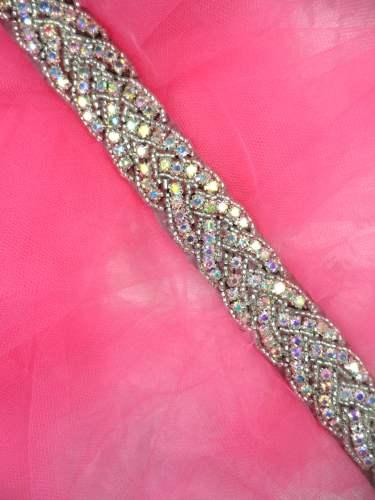 DH32 (34 long) Bridal Sash Trim Rhinestone Black Backing Crystal AB Stones Silver Beaded