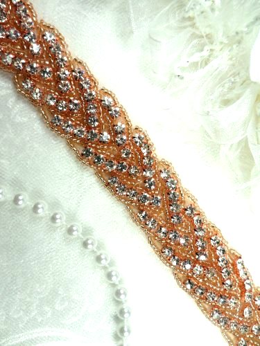 REMNANT Rhinestone Trim Rose Gold Beaded Bridal Sash 24 (DH32)