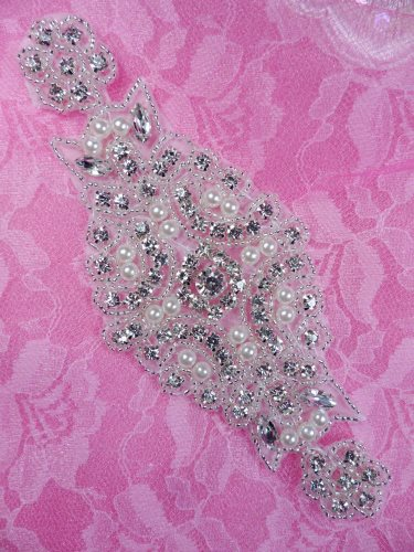 DH40 Pearl Applique Crystal Clear Silver Beaded Rhinestone Patch 6\