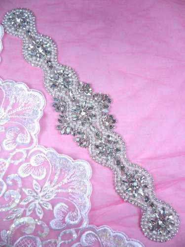 DH42 Pearl Applique Crystal Clear Rhinestone Patch 12.5\