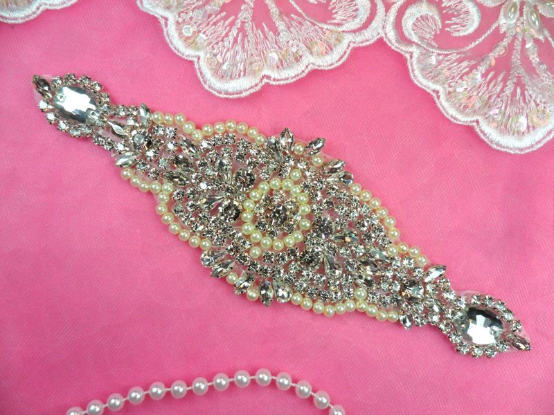 Pearl Applique Crystal Clear Rhinestone Ivory Iron On Patch 7.75 (DH47-crivp)