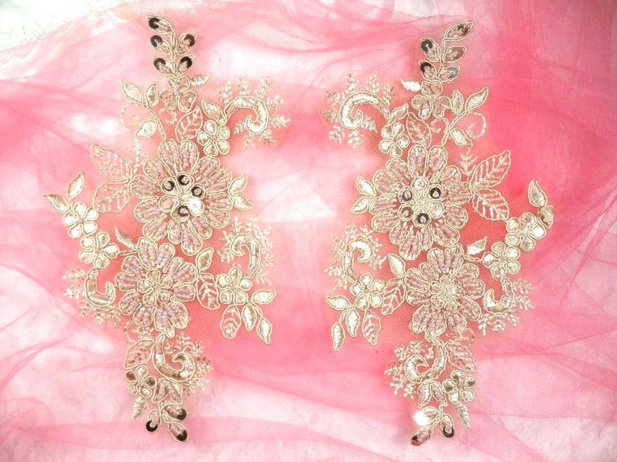 Embroidered Lace Applique Mirror Pair Floral design accented w/ Sequins and Beads Rose Gold Color 7 (DH50)