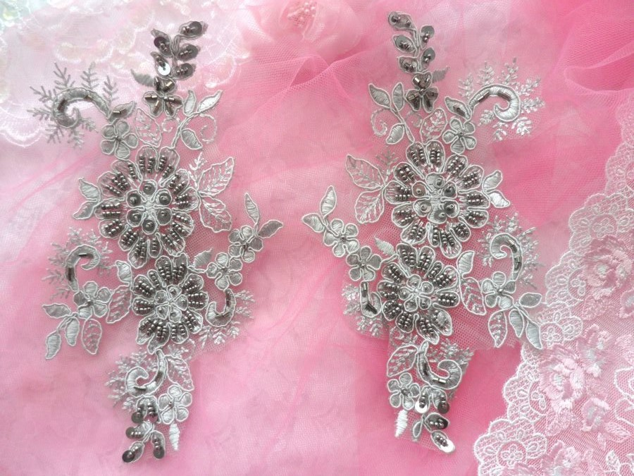 Embroidered Lace Applique Mirror Pair Floral design accented w/ Pewter Sequins and Beads Grey Silver Color 7 (DH50)