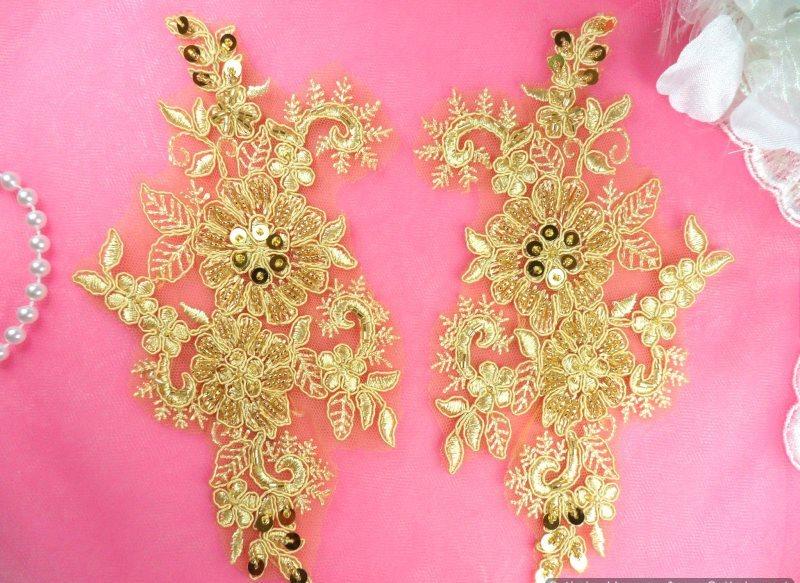 Appliques Floral Venise Lace Gold Mirror Pair Sequin Beaded 7 (DH50X-gl)