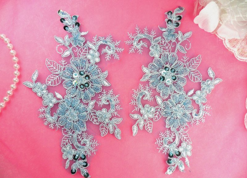 (Left Side Only) Applique Floral Venise Lace Light Blue Sequin Beaded 7 (OSDH50X)