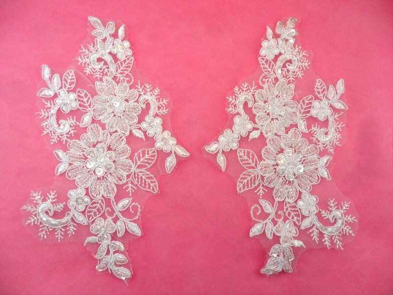 Mirror pair appliques white floral venise lace beaded crystal sequin