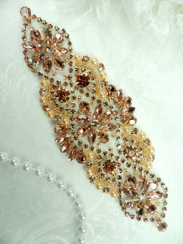 DH54 Bridal Applique Rose Gold Rhinestone Peach Beaded With Colored Pearls 6