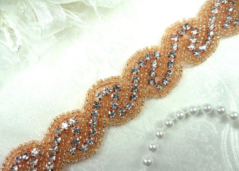 Rose Gold Trim Crystal Glass Rhinestone Gold Beaded Bridal 1\ (DH56-rsglcr)