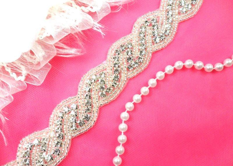 Wedding Trim Crystal Rhinestone Silver Beaded Bridal Sash DIY 1 (DH56-slcr)