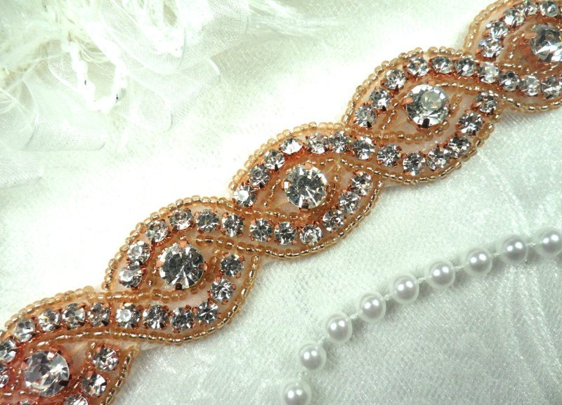 Iron On Trim Rose Gold Beaded Glass Crystal Rhinestone Bridal Sash Banding 1\ (DH58-rsglcr)