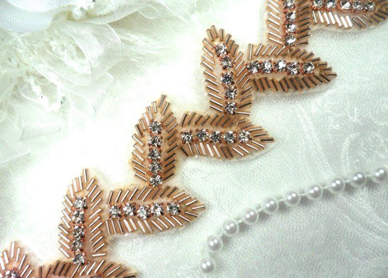 Leaf Trim Rose Gold Beaded Crystal Clear Rhinestone Leaves Vine 1.75\ (DH60-rsglcr)