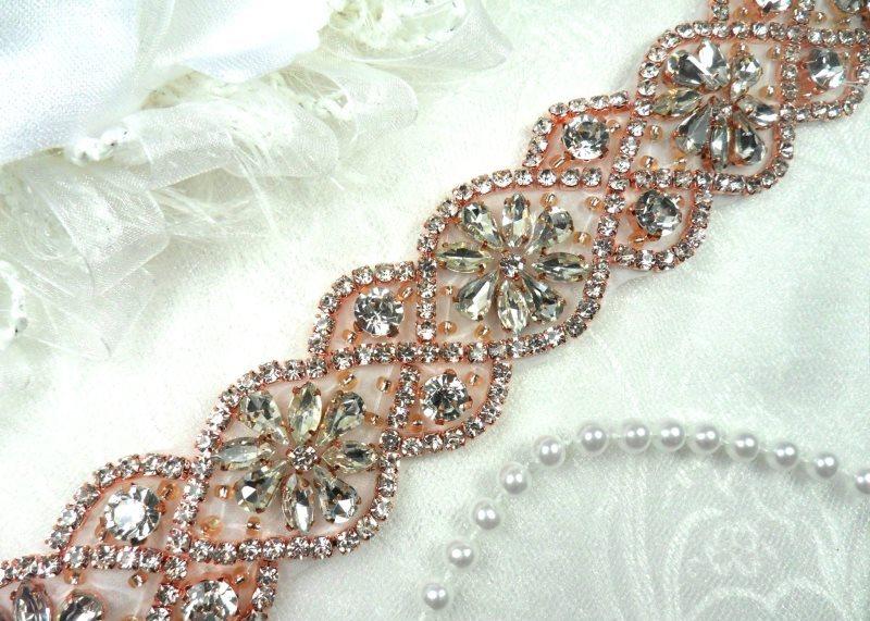 Trim Rose Gold Beaded Glass Crystal Rhinestone Bridal Banding 1.5 x 34 (DH62)