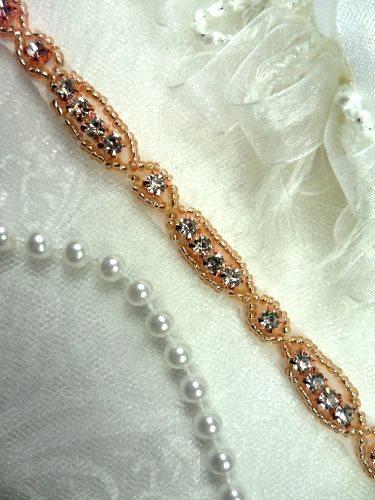 DH63 Rhinestone Trim Rose Gold Beaded Crystal Clear Stones Petite Thin .25