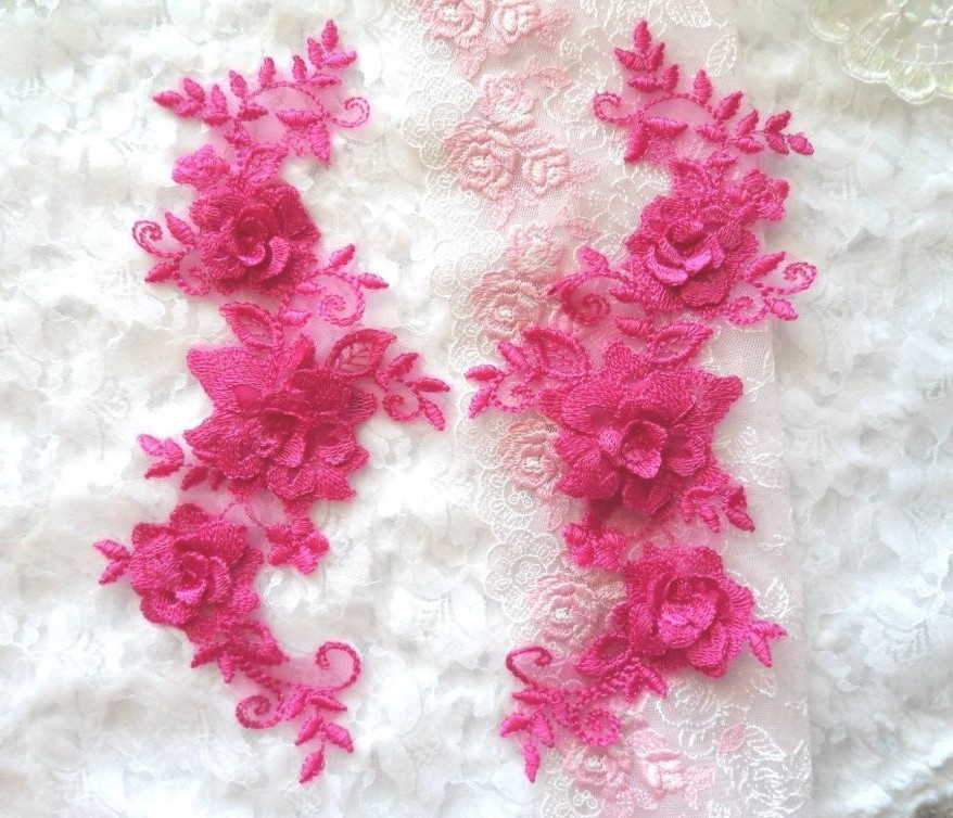 3D Lace Appliques Fuchsia Floral Embroidered Mirror Pair 10.5 (DH65X)