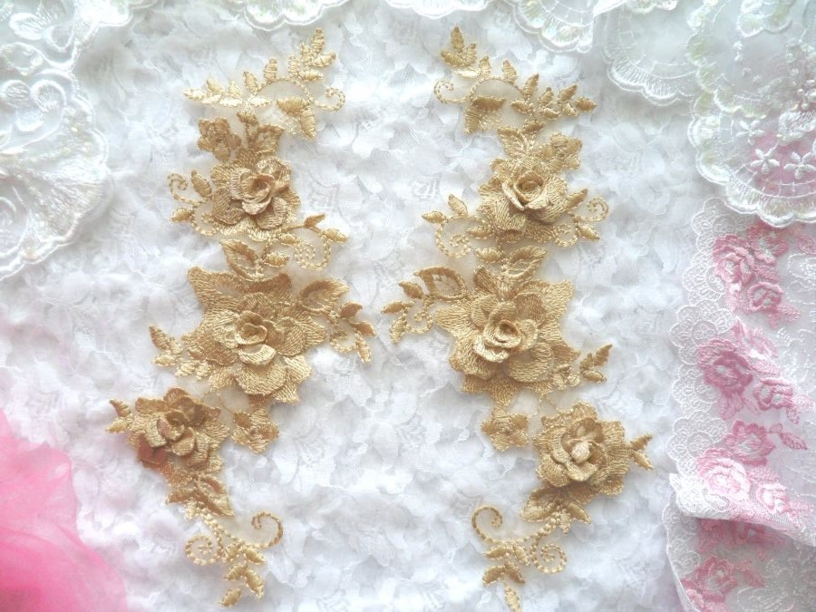 3D Lace Appliques Gold Beige Floral Embroidered Mirror Pair 10.5 (DH65X)