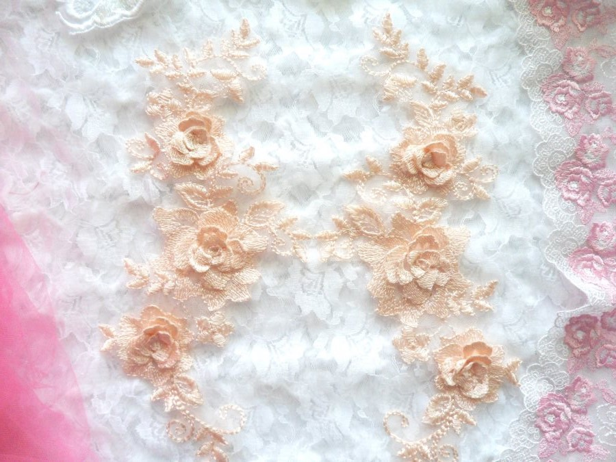 3D Lace Appliques Peach Floral Embroidered Mirror Pair 10.5 (DH65X)