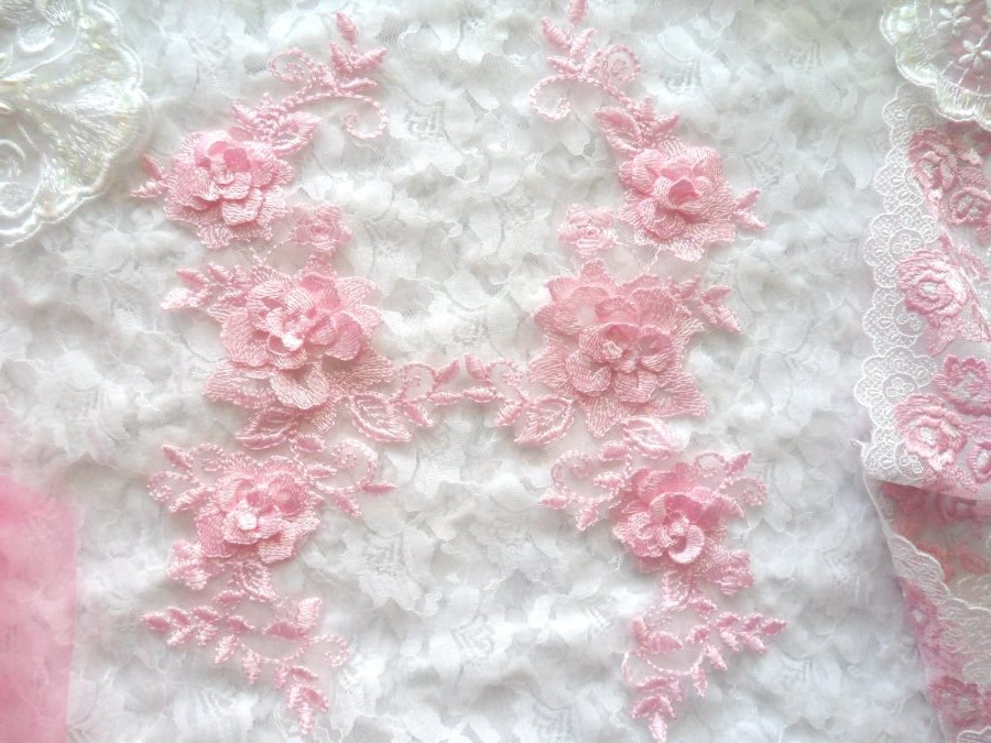3D Lace Appliques Pink Floral Embroidered Mirror Pair 10.5 (DH65X)