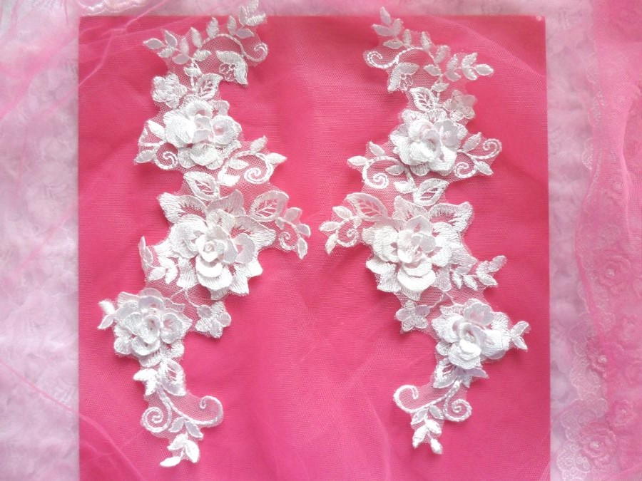 RMDH65X REDUCED 3D Lace Appliques White Floral Embroidered Mirror Pair 10.5