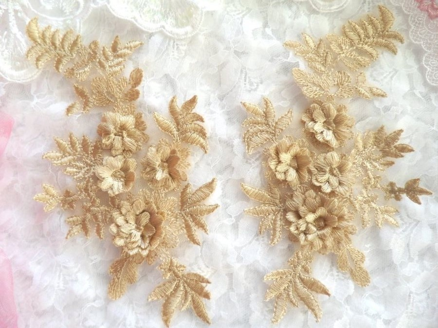3D Embroidered Appliques Gold Beige Floral Venice Lace Mirror Pair 8.25 Beautiful (DH68X)