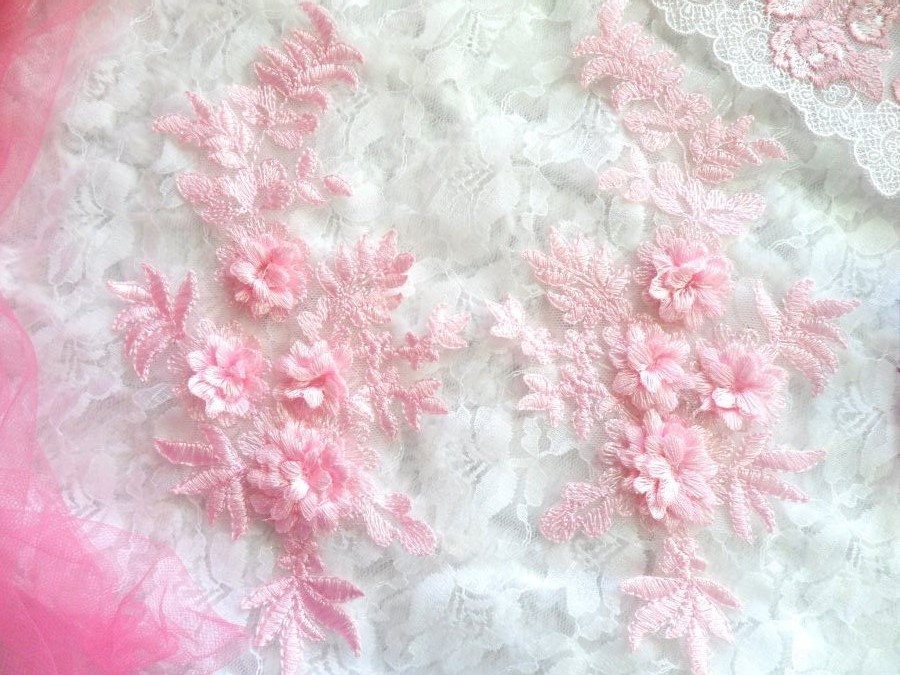 REDUCED 3D Embroidered Lace Appliques Pink Floral Venice Lace Mirror Pair 8.25 Beautiful (RMDH68X)