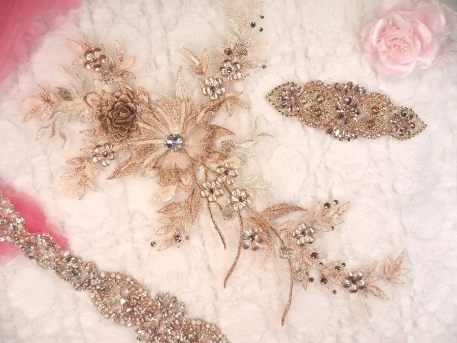 Embroidered 3D Applique Rose Gold Champagne Floral Sequin Patch Rhinestone Center 14 (DH70)