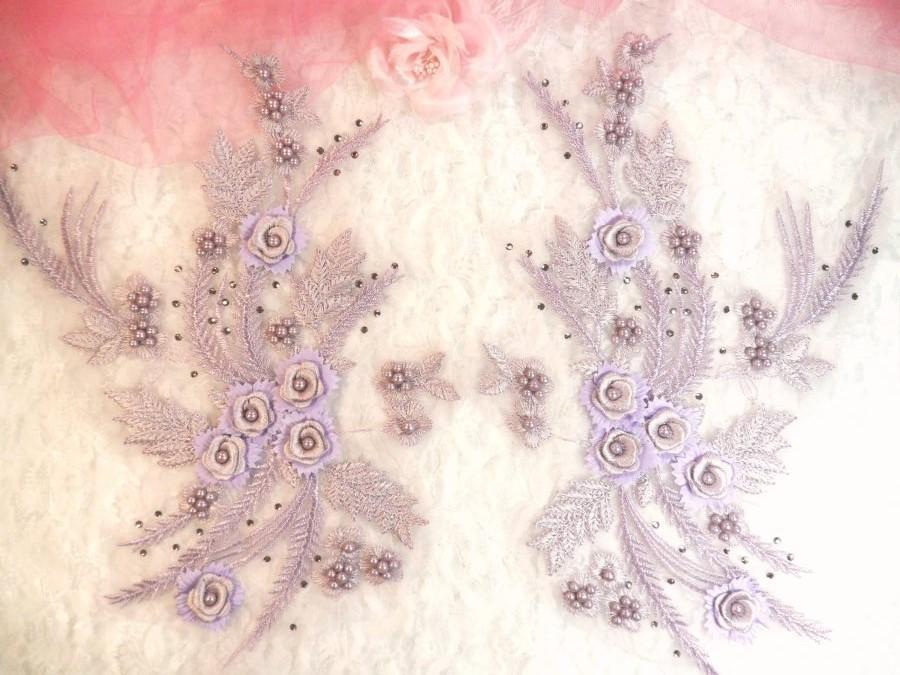 Embroidered 3D Appliques Lavender Floral Mirror Pair Fabulous Detail 13 (DH76X)