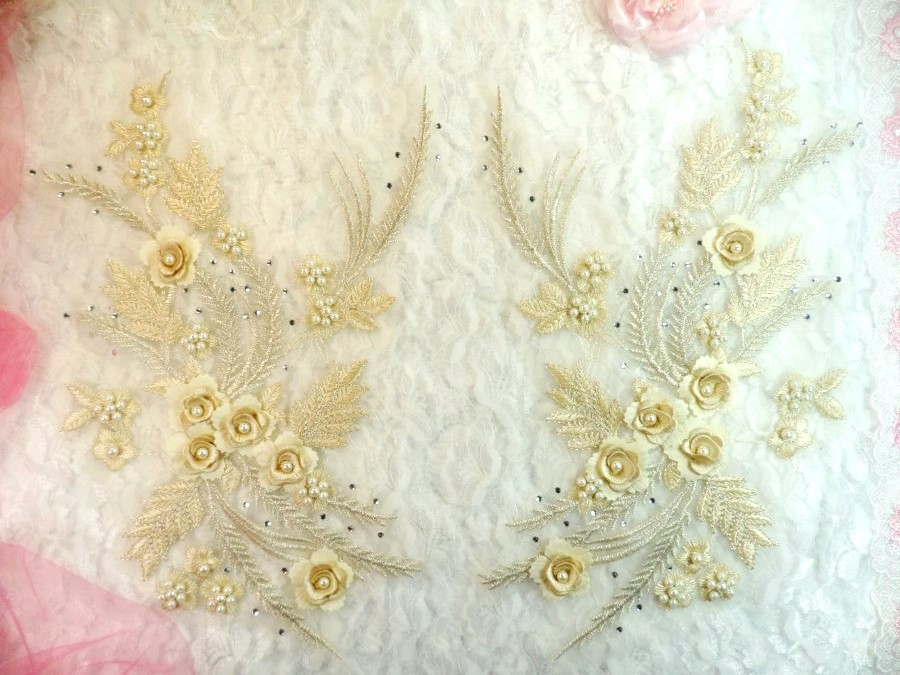 Embroidered 3D Appliques Beige Floral Mirror Pair Fabulous Detail w/ Pearls 13 (DH76X)
