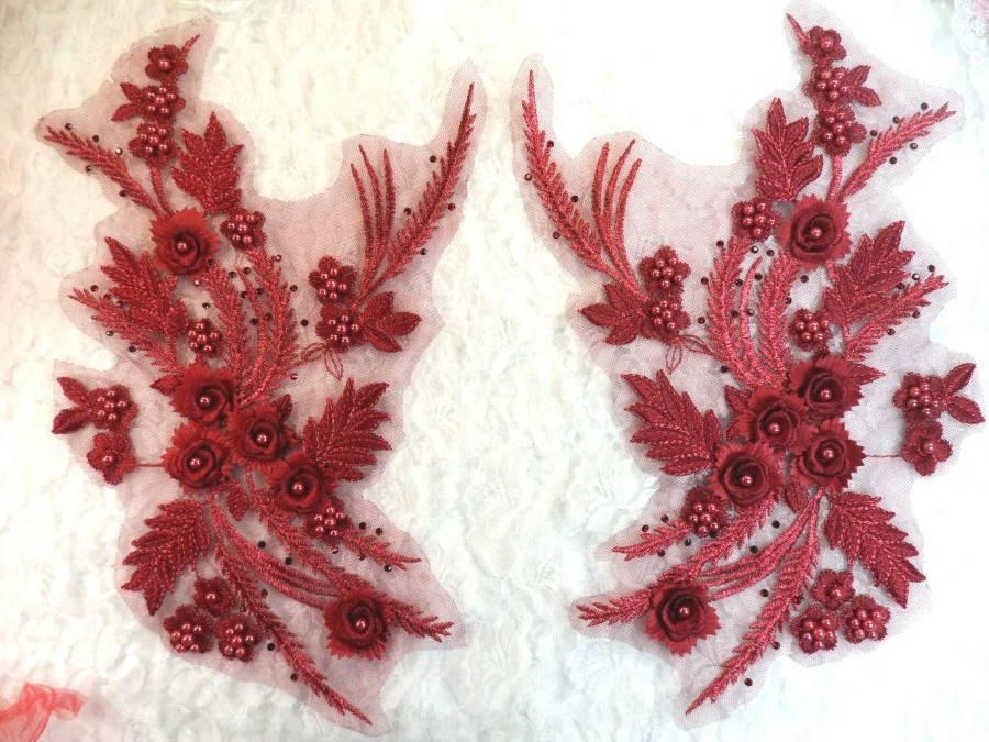 Embroidered 3D Appliques Burgundy Wine Floral Mirror Pair Fabulous Detail w/ Pearls 13 (DH76X)