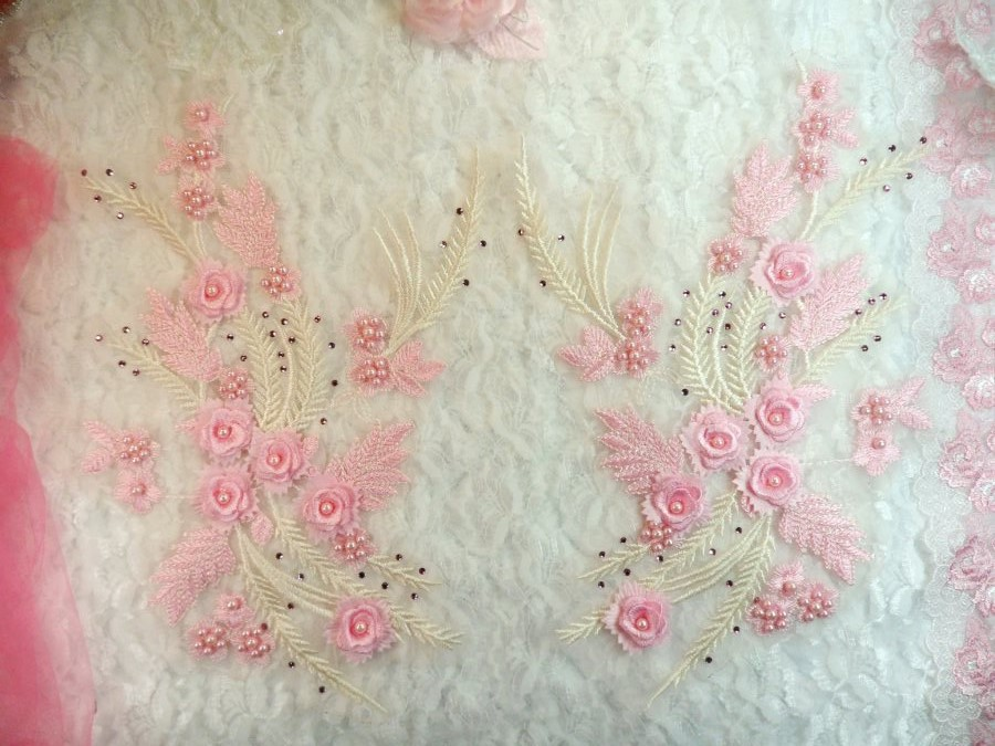 3D Embroidered Appliques Pink Ivory Floral Mirror Pair Fancy Detail w/ Pearls 13 (DH76X)