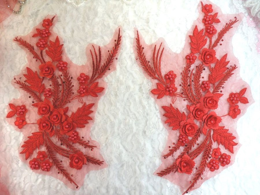 Embroidered 3D Appliques Red Floral Mirror Pair Fabulous Detail w/ Pearls 13 (DH76X)