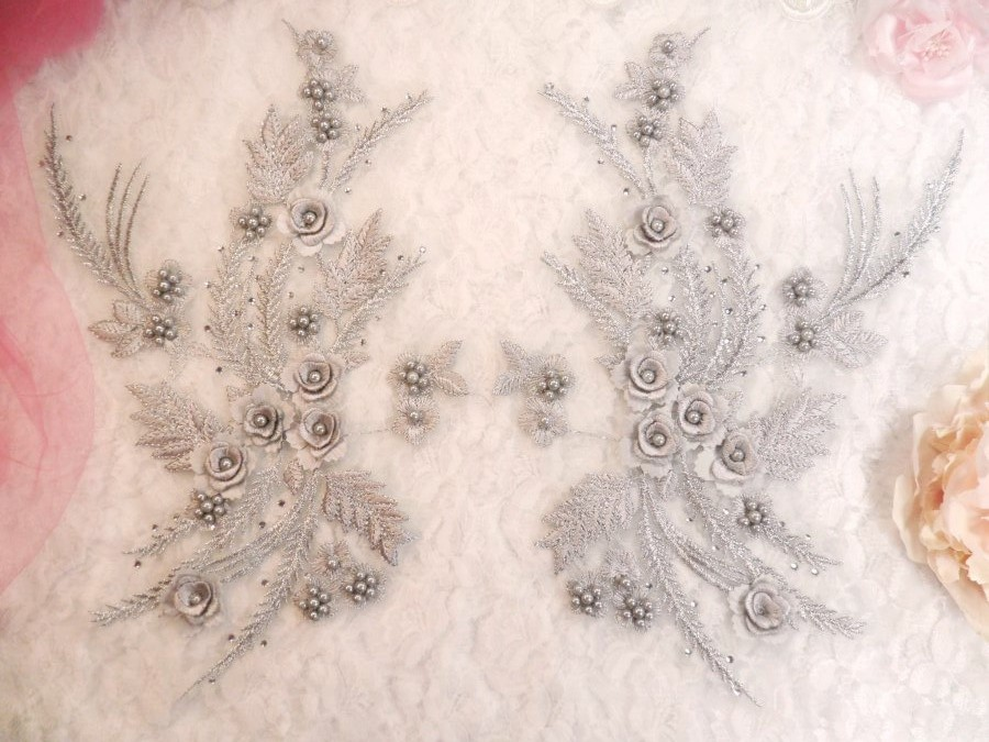 Embroidered 3D Appliques Silver Metallic Floral Mirror Pair Fabulous Detail w/ Pearls 13 (DH76X)