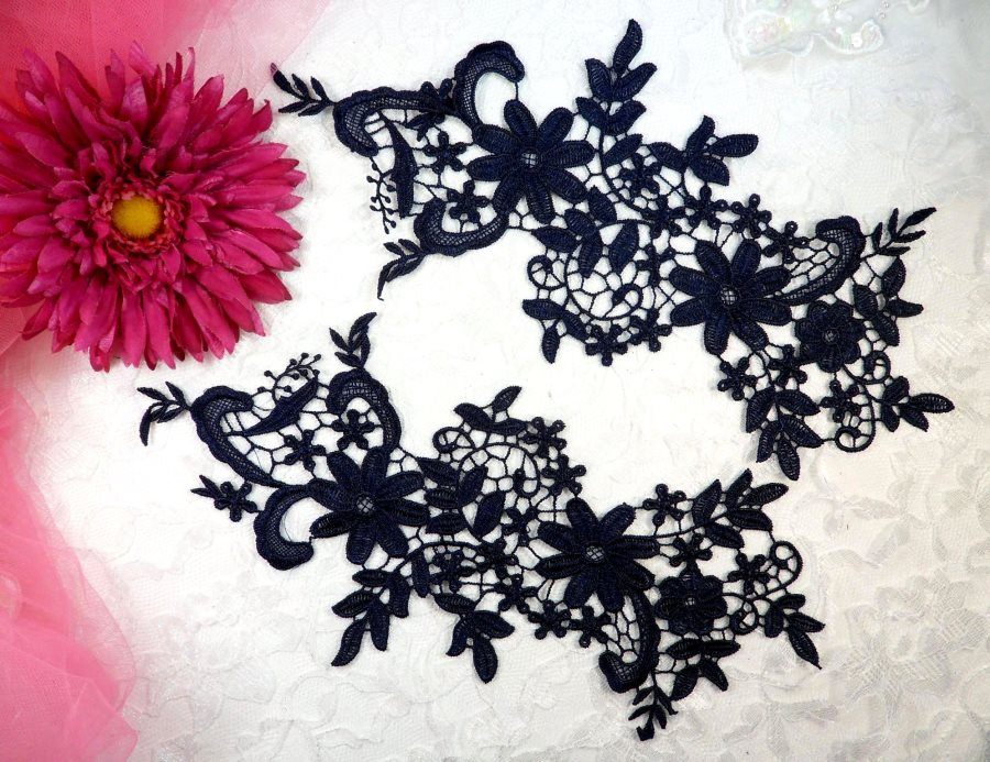 Appliques Embroidered Lace Navy Blue Floral Venice Mirror Pair Motifs 12.5 (DH79X)