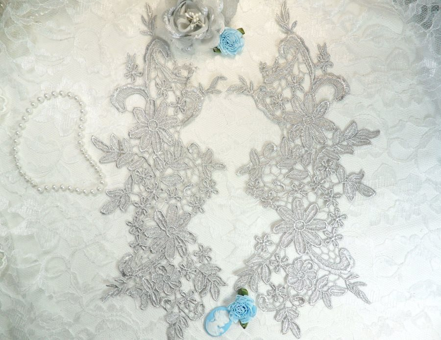 Appliques Embroidered Lace Silver Floral Venice Mirror Pair Motifs 12.5 (DH79X)