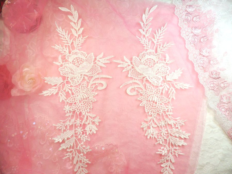 Embroidered Lace Appliques White Romantic Rose Floral Venice Lace Mirror Pair 16 (DH83X)