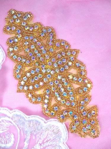 DH8 Designer Crystal AB Glass Rhinestone Gold Beaded Applique 6\