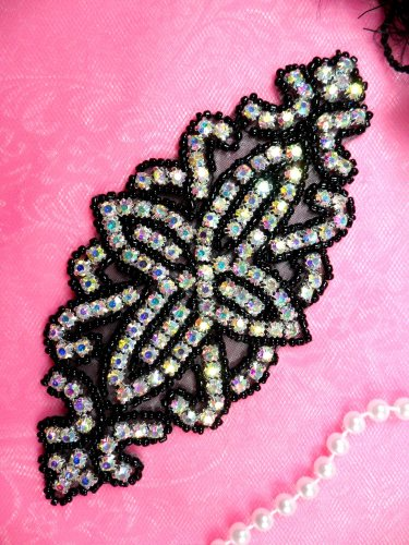 DH8 Applique Crystal AB Rhinestone Black Beaded Dance Patch 6