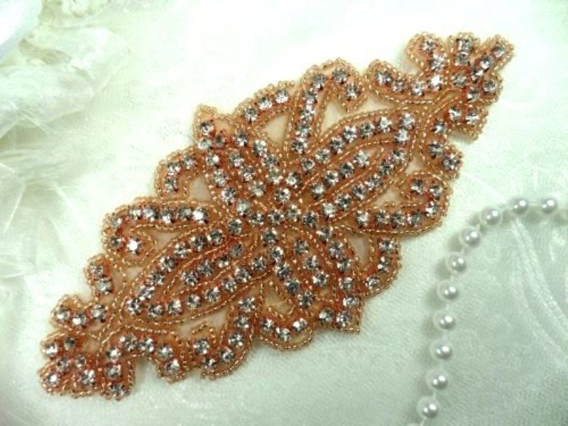 RMDH8 Rose Gold REDUCED Applique Crystal Glass Rhinestones Gold Beaded Bridal Sash Patch 6