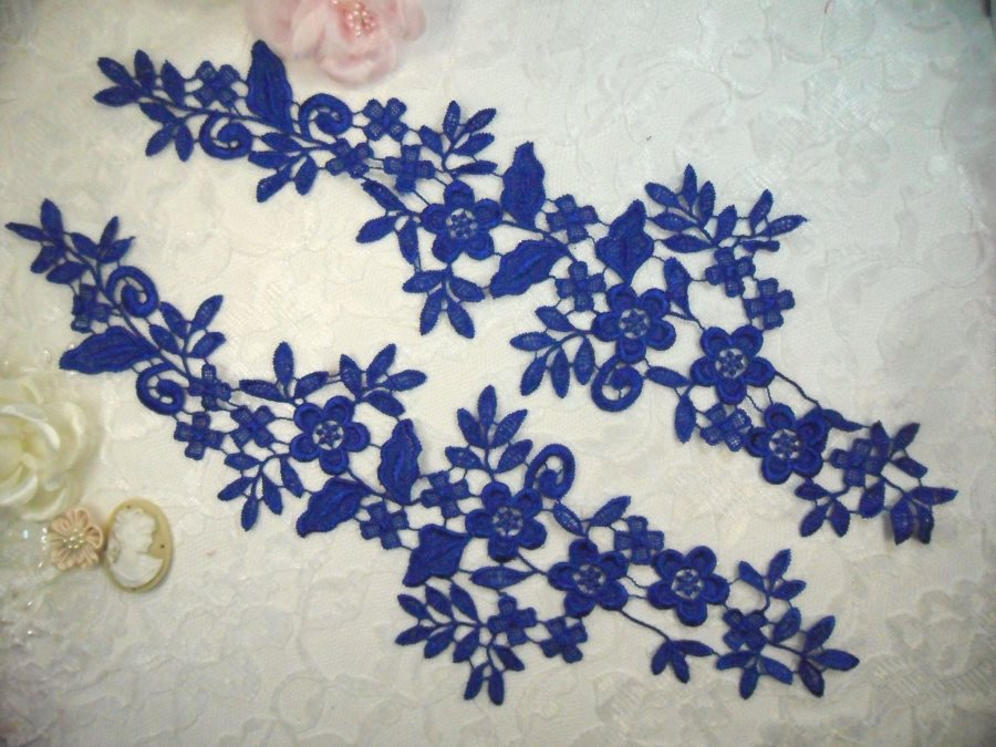 Embroidered Lace Appliques Blue Floral Venice Lace Mirror Pair 15 (DH80X)