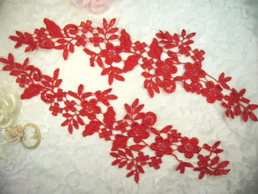 Embroidered Lace Appliques Red Floral Venice Lace Mirror Pair 15 (DH80X)
