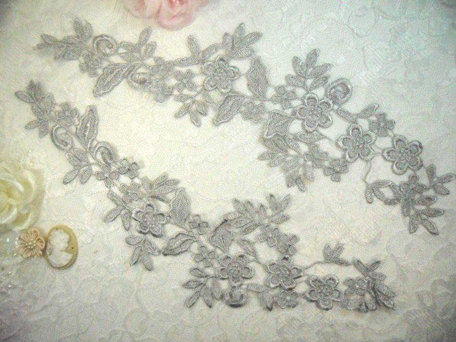 Embroidered Lace Appliques Silver Floral Venice Lace Mirror Pair 15 (DH80X)